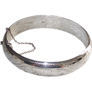 Sterling Hinged Bangle with Safety Chain