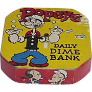 SOLD 1956 Popeye Tin Lithograph Daily Dime Bank