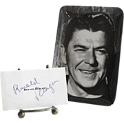 1976 Ronald Reagan Autograph and Small Reagan Tray