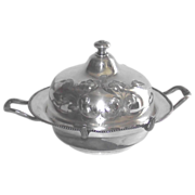 Taunton Silver Plate Covered Butter Dish with Brite Cut Flowers