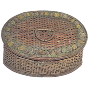 SOLD Victorian Sewing Basket with Barbola Flowers Trimming Top Loaded with Stuff