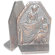 SOLD Betsy Ross Book Ends Cast Iron Bronzed