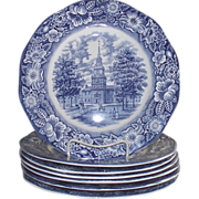 SOLD 7Pc. Staffordshire Liberty Blue Independence Hall Dinner Plates