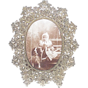 SALE PENDING Victorian White Metal Filigree Table Picture Frame
