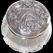 Sterling & Cut Crystal Art Nouveau Lady & Water Lilies Dresser Jar