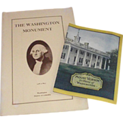 1932 Mount Vernon Souvenir Brochure & 1929 Washington Monument 2nd edition Souvenir Brochure