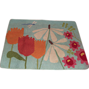 Mid Century Hand Hooked Rug Flower Power Daisies –Tulips – Dragon Fly