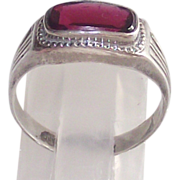 Art Deco Sterling Ring with East West Garnet Cabochon