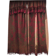 SALE PENDING Victorian Portiere' Dark Forest Green and Burgundy with Lovely Double Fringed E