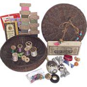 Vintage Chinese Sewing Basket Loaded with Good Stuff