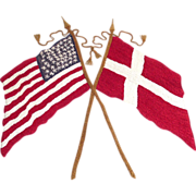 SOLD Hand Embroidered American and Danish Flags Pillow Top circa 1910