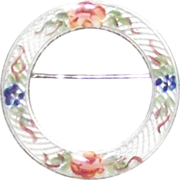 Lamonde Sterling and Guilloche Circular Enamel Floral Brooch