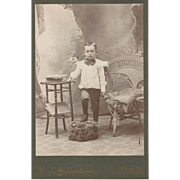 Young Vermont Boy with Bamboo Table Cabinet Card