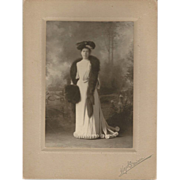 Edwardian Fashion Photograph Hat with Hatpin Fur Boa and Muff and Stunning Dress
