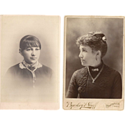 2 Pc. Women with Book Chains & Other Period Jewelry Cabinet Cards
