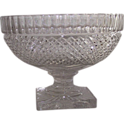 SALE PENDING Flint Glass Compote Inverted Column and Strawberry Cut Diamond