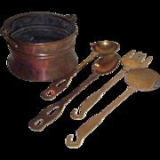 SOLD 4 Piece Brass Kitchen Utensils & a Copper Pot with Brass Bail