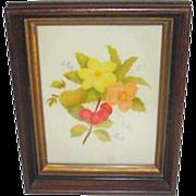 Deep Walnut Framed Folk Art Theorem Painting on Velvet