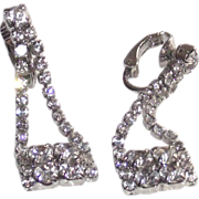 """Purse"" Shaped Earrings White Metal Clear Rhinestones Clip Style"