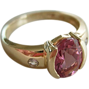 Bubble Gum Pink Tourmaline 1.5 ct with Diamonds 14Kt Gold sz 6