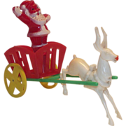 Vintage Hard Plastic Santa in Cart - Reindeer Candy Container  E. Rosen 1950s
