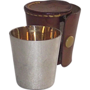 SOLD German Silver Shot Cup with Gold Wash in Leather Case