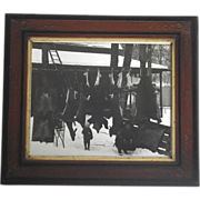 1930s Hunting Lodge Real Photo Father & Son Many Animals Hanging - Bear Deer Rabbits