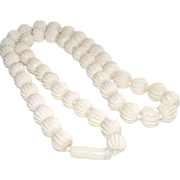 Mid Century Carved Cream Color Resin Bead Necklace