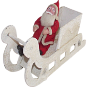 SALE Vintage Clay Face Santa in Mica Covered Sleigh Mid - Century Japanese