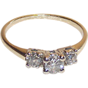 14 Kt Past Present Future Diamond Ring Sz. 4.75