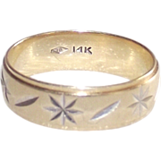 14 Kt Yellow Gold Diamond Cut Wide Wedding Band