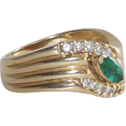 14 Kt Yellow Gold Emerald and Diamond Ring  sz6