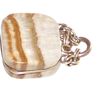 Victorian Banded Agate Purse Shaped Fob