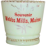 Victorian Custard Glass Toothpick Holder Souvenir Webbs Mills, Maine