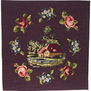 Completed Needlepoint Thatched roof Cottage and Lake with Roses and Forget me Nots