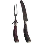 Landers Frary and Clark Horn Carving Set Sterling Ferrels