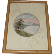 Scenic Painting on Embossed Celluloid Framed in Faux Bamboo Frame