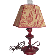 Red Tole Table Lamp with Matching Toile Shade