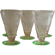 Cambridge Imperial Hunt Pink and Green 5 Piece Footed Tumbler's RARE