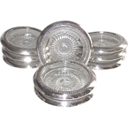 Sterling Silver Rimmed Glass Coasters  9 Piece