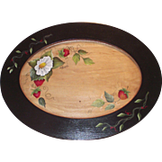Vintage Tole Painted Tray with Strawberries Wooden Hand Painted