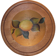 Wooden Tole Painted Bowl with One Large Lemon