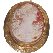 Rolled Gold Over Sterling  - Large Shell Cameo Lovely Lady