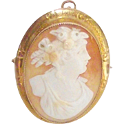 10 Kt Yellow Gold Carved Shell Cameo