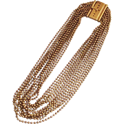 Art Deco Brass Ball Bead 12 Multi Strand Necklace
