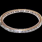 Vintage Art Deco Sterling Bangle Bracelet with Clear Crystal Channel Set Stones