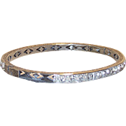 Art Deco Sterling Bangle Bracelet Clear Crystal Channel Set Stones, 1920's
