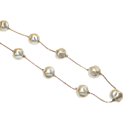 Gold Tone Chain Necklace with Large Faux Baroque Pearl Stations