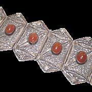 Filigree Silver Wire Work Bracelet with Carnelian Cabochons C 1900