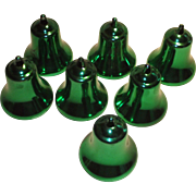 Mid Century 1960s Hard Plastic Green Christmas Bell Ornaments